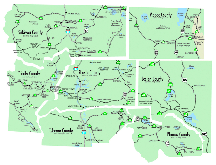 Maps of the Shasta Cascade Region