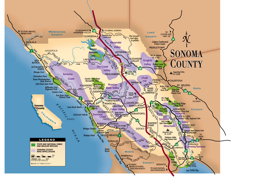 Sonoma County Map   101 Things To Do Wine Country