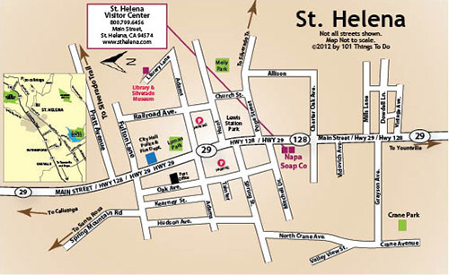 Map of St Helena 101 Things To Do Wine Country